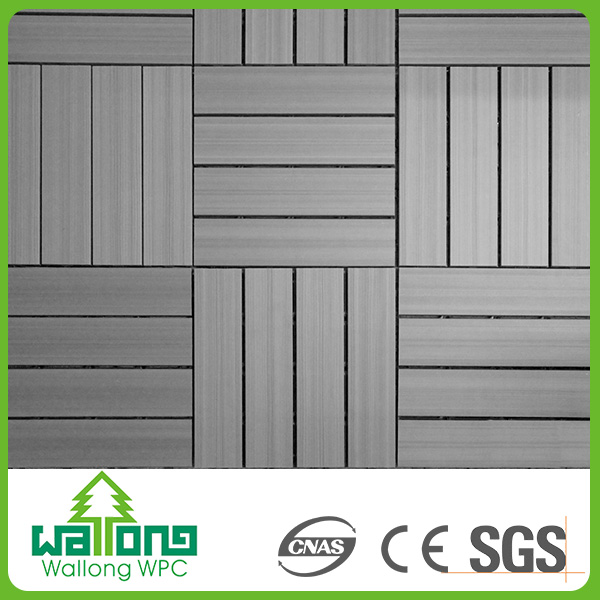 Waterproof outdoor floor covering solid wpc decking tile wood plastic composite panel
