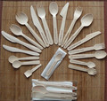 wooden disposable party picnic knife fork spoon cutlery set