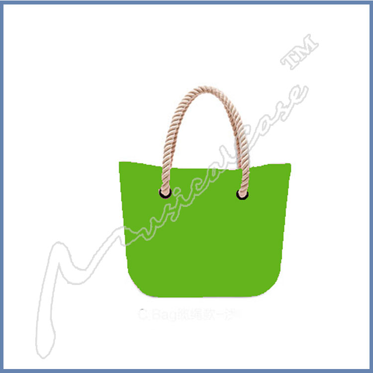 Top big gold handbags with solid rope handle and pu inner bag