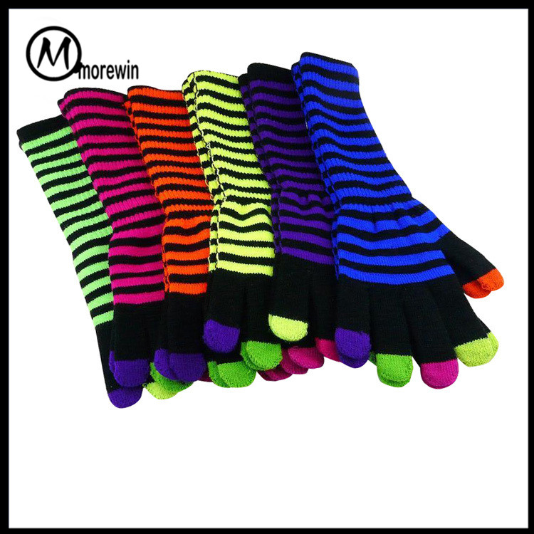 Morewin Colorful Long Hand Warm Winter Knitted Five Toe Women Gloves