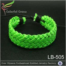 Handmade leather bracelet ideas colorful braided leather bracelet