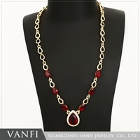 2016 American indian costume gemstone wedding jewelry gold plated ruby necklace for women