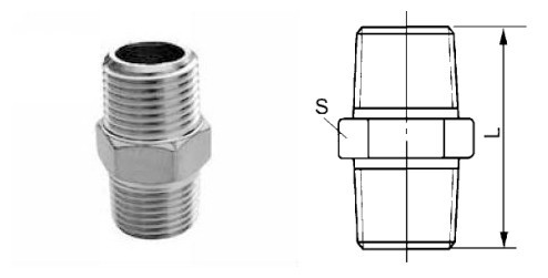 Thread Adapters Stainless Steel Threaded NPT to BSP Nipple