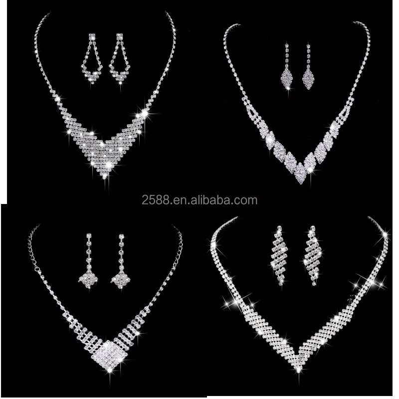 Luxury Sparkling Crystal Bridal Jewelry Sets Tassel Floral Necklace Earrings Silver Color Wedding Jewelry Set for Women