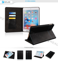 factory made pu leather wallet case for ipad mini 4,soft pu leather with stand design and auto magnet