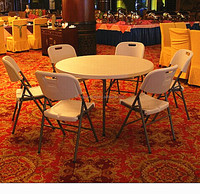 round 6 seats hotel hall catering table/122*74cm heavy duty blow mold commercial plastic table/party tables and chairs for sale