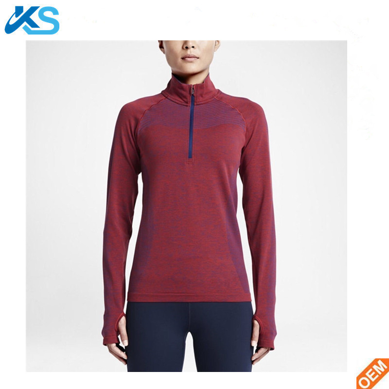 100% polyester dry fit blank half Zip running shirts thumb hole shirts