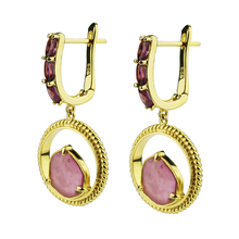 fashion gold plated twisted earrings sterling silver stud earring tourmaline charm garnet drop stone earring