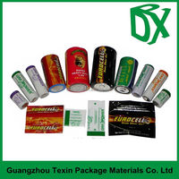 Online wholesale shrink film label shop full color printing 40 micron PVC shrink wrap for battery packaging