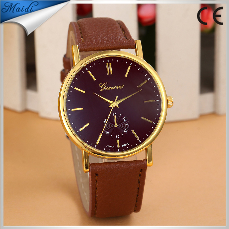 Ladies 2015 quartz watch women geneva fashion leather watch dress luxury ladies wristwatches Ladies clocks and watches GW006