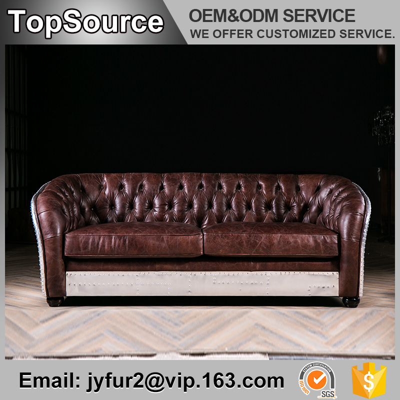 Solid Wood Frame Leather Used Chesterfield Furniture Sofa