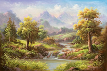 Home Wall Art Decoration Classical Landscape Forest 100% Handmade Canvas Oil Painting