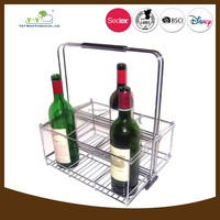 Wholesale stainless steel wine bottle display wine basket