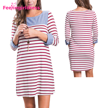 Fashion Muslim Women Long Sleeve Dresses Stripes Floral Ladies Casual Dress