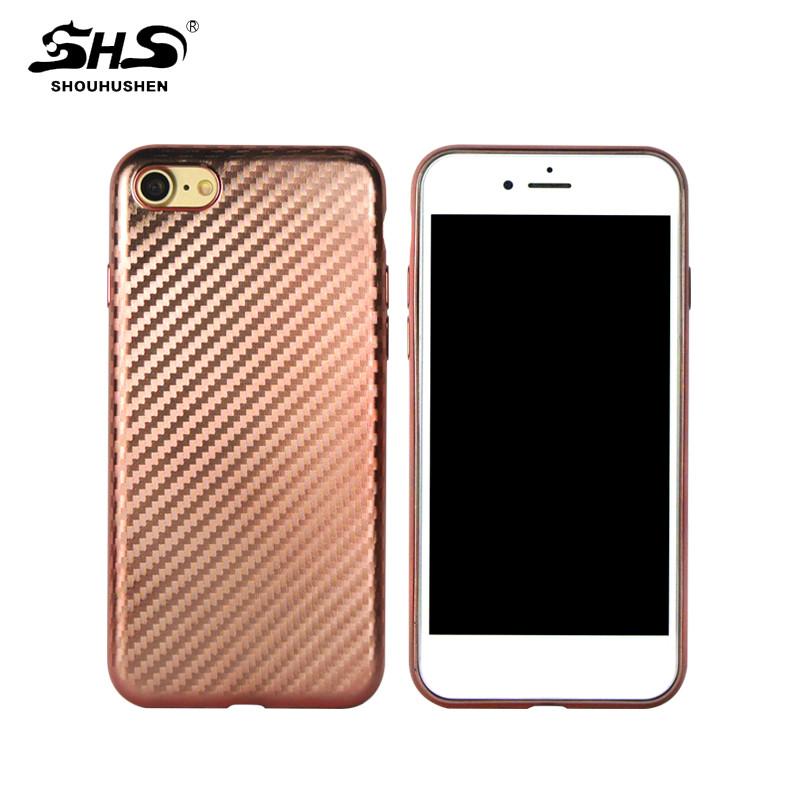 SHS Carbon Fiber Pattern 3D Effect Soft TPU Mobile Phone Case for iphone 7