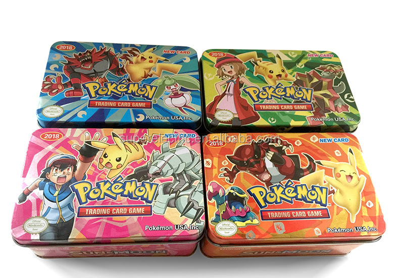 pokemon playing card metal box 41 cards in 1 box including 2 EX cards