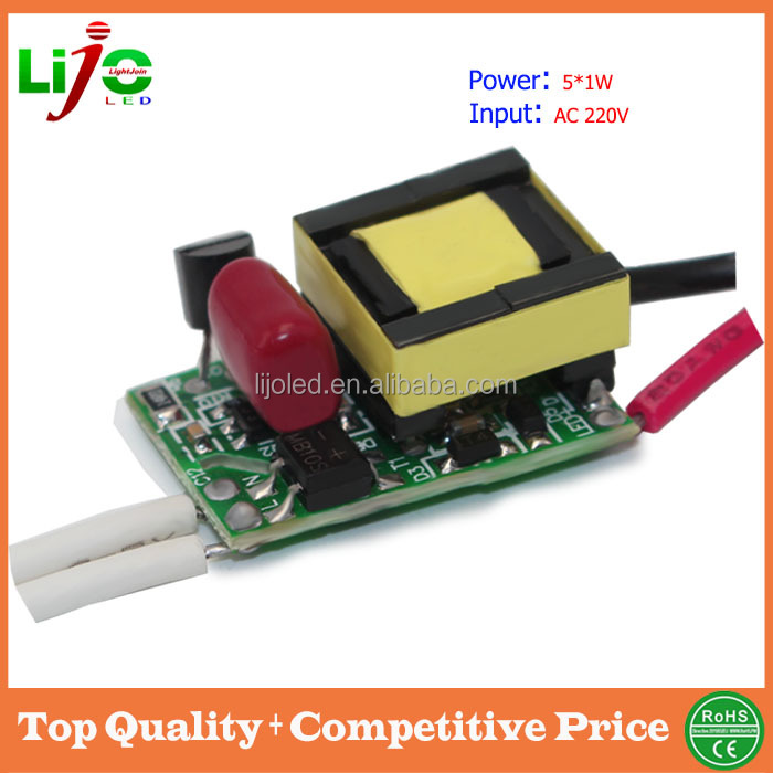 5w isolated ac 110v/220v 300ma triac dimmable led driver