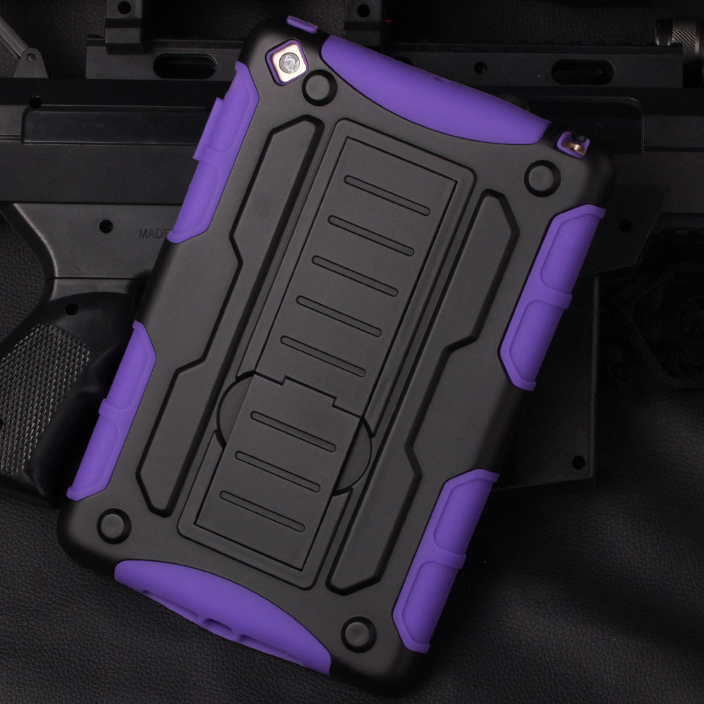 Heavy Duty] Hard Shock-Resistant Hybrid Cover Dual Layer Belt Clip Holster Kickstand Case For ipad mini ,mini 2,mini 3 air