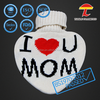 Heart shape BS rubber hot water bottle with knitted cover for Mother 's day