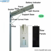 40W 50W 60W 80W all in one integrated solar led street light , led garden light with motion sensor