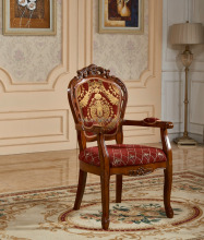 high back solid wood carved wing royal antique occasional chairs with arm, hand shape antique wood fabric cushion chair