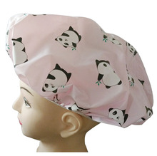 PVC with animal printing reusable waterproof shower cap
