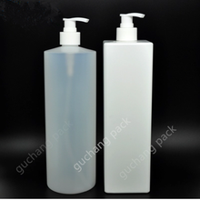 1L HDPE plastic square /round shampoo bottle with pump or flip cap