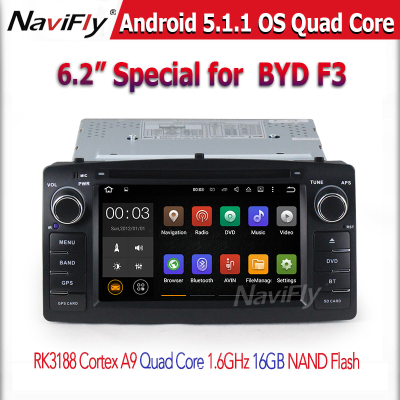 6.2inch car dvd player android 5.1 with 4 x 50w(max) Surround Stereo/ 3D Games, HD Video, 1080P for BYD F3 2006~13
