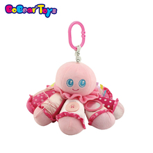 Octopus shape stuffed animal music box with safe mirror rope zipper crib hanging toy for baby