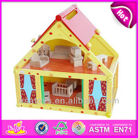 2015 New kids wooden doll house toy,Sweet style mini wooden toy doll house and hot sale colorful doll house wholesale WJ276682