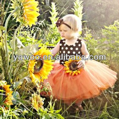 Factory Price! Christmas party dresses for girls fluffy tutu tulle flower girl dress with brown polka dot top
