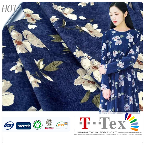 Comfortable dark blue color Thin strips children frocks designs indonesia cotton printed corduroy fabric