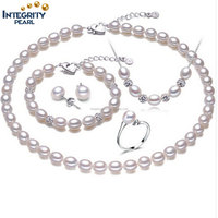Rice shape real pearl four piece suit accessories pendant ring and earrings women's wedding party jewelry set