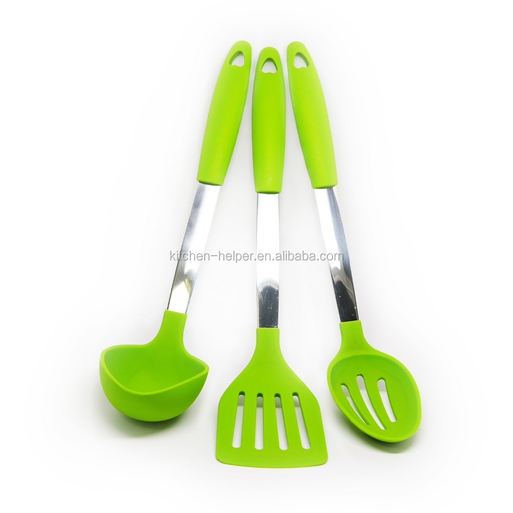 FDA Approved Heat Resistant Silicone Kitchen Utensils Stainless Steel Cookware