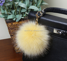New style fake fox fur ball charm fur pom poms keychain fake fur ball 13cm
