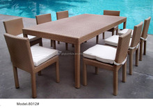 China Garden Wicker Rectangle Rattan Dining Table Outdoor Furniture
