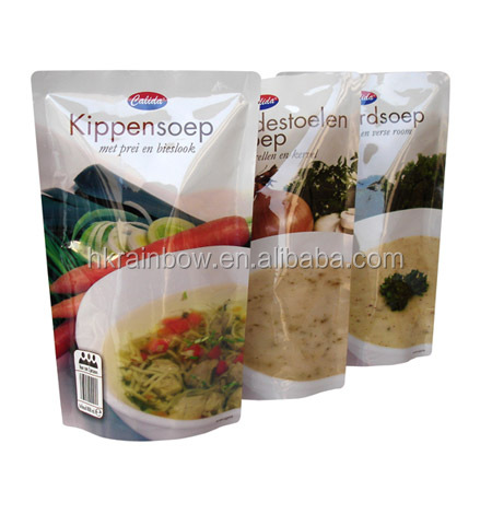 mylar label printing frozen food bag/sealable transparent standing pouch