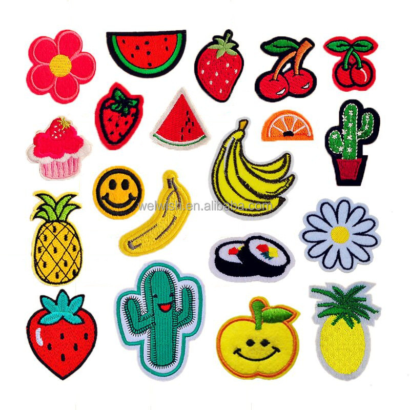 New Wholesale Fruit Series Iron On Custom Embroidery Patches For Clothing