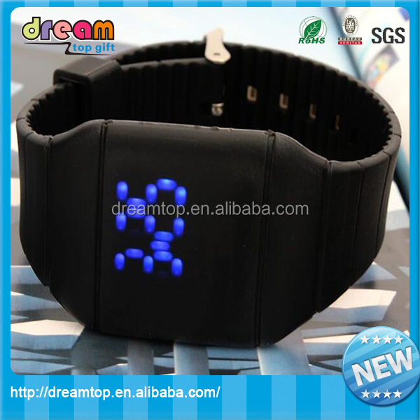 Jelly color odm silicone led sport touch screen design your own watch