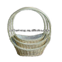 plastic lined wicker handle basket set 3