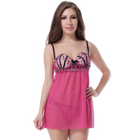 New design sleepwear underwear with g string pajamas nighty inner wear sexy baby doll mature lingerie