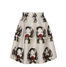 Fashion summer newest print Midi skirt silk Pleated Skirt for women S003