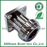 N type plug RF connector with 4 Hole flange for simi-ridig cable