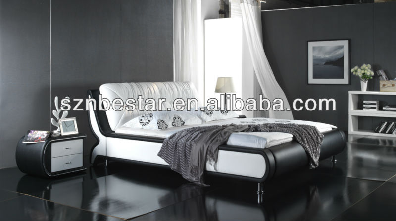 2013 latest soft leather bed in china , modern bedroom furniture