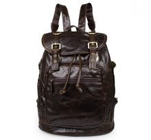 6085C-1J.M.D Coffee Color Hidden Compartment Camping Backpack Leather Laptop Bags