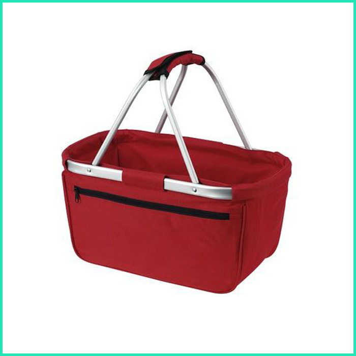 2016 newest folding double fabric handle carry shopping basket