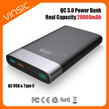 New Products 20000mAh QC3.0 Quick USB Type C Battery Charger External baterry Power Bank