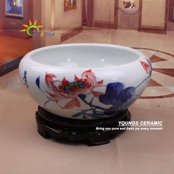 Small Chinese Hand Painted Lotus Design Porcelain Decorative Indoor Flower Pots Fish pots