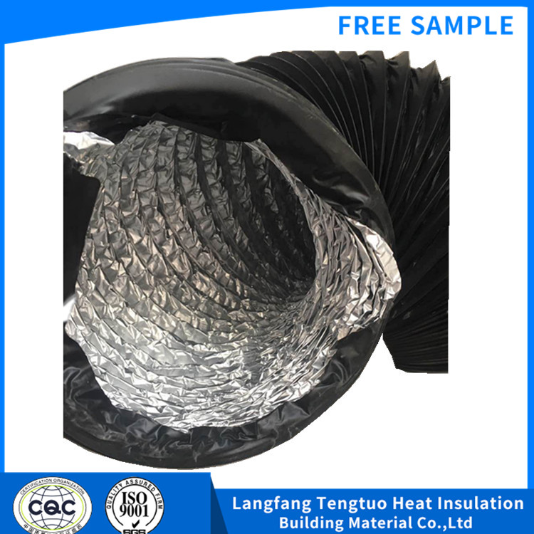 Black PVC flexible air ducts for ventilation system