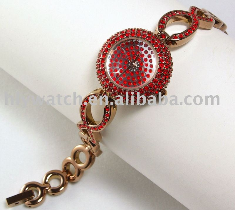 Gem stones copper watch,pretty lady copper fashion watch with many stones,expensive gift for lovers,small bracelet quartz watch